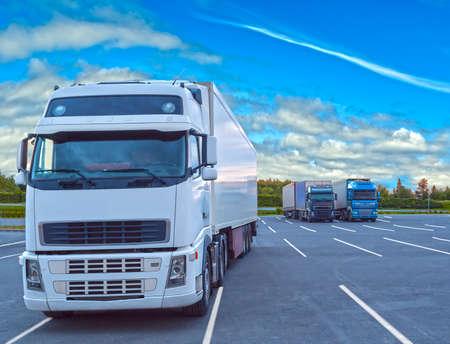 Witte vrachtwagen geparkeerd op een bewolkte dag