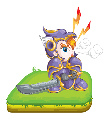 full metal jacket: cute knight hold a big sword Illustration