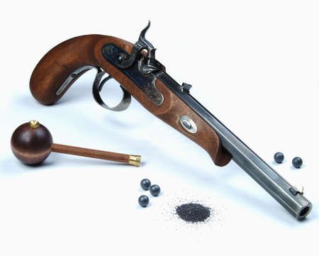 Black Powder Pistol with, shot and gun powder