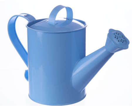 Blue watering can on white background