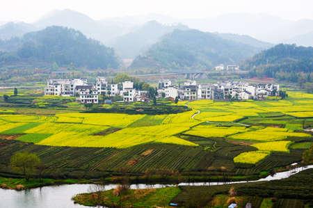 shallop: Wuyuan Moon bay landscape. Stock Photo