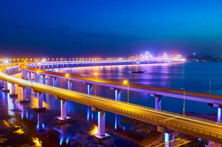The Dalian Xinghai bay cross-sea bridge Stock Photo