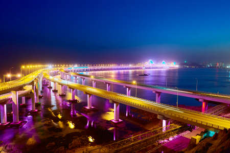 a nocturne: The Dalian Xinghai bay cross-sea bridge Stock Photo