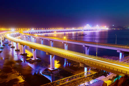 The Dalian Xinghai bay cross-sea bridge Stock Photo