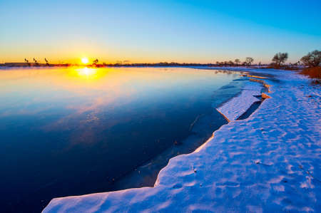 Nature landscape scenery view of a ice lake during sunrise