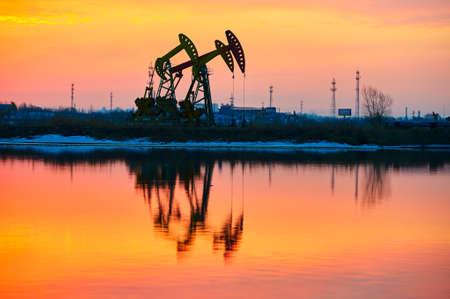 The sunrise of oil field scenic