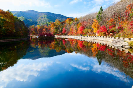 The colorful mountains and lake water