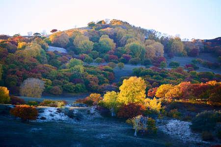 The autumn steppe sunset scenery. Stock Photo