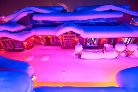 China's Snow Town landscape view at night