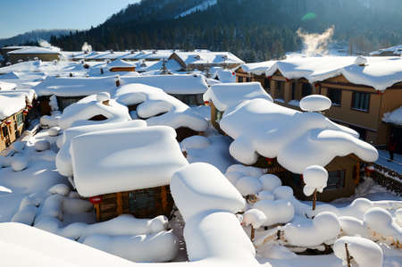 The China village in snow scenic. Banco de Imagens