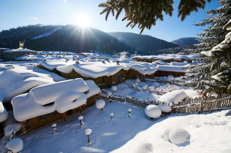 The China village in snow scenic. Stok Fotoğraf