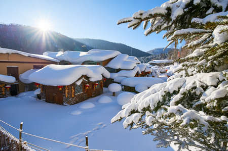 The China village in snow scenic. Stock Photo