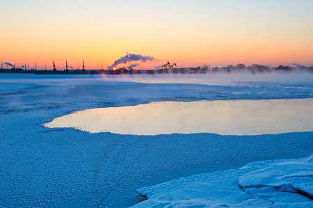 The winter lake sunrise landscape.