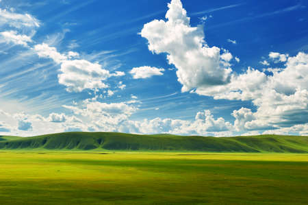 The cloudscape and summer grassland of Hulunbuir of China.