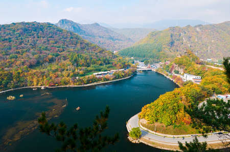 Benxi Guanmen mountain reservoir of China autumn scenic.