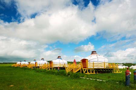 Mongolia yurts in the summer grassland of Hulunbuir, China.