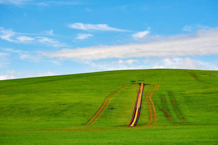 The grass skiing slideway on the green hillside. Stock Photo