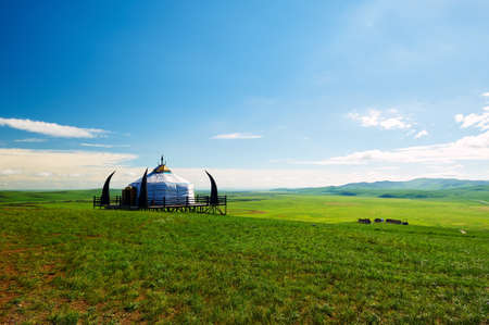 Mongolia yurts in the summer grassland of Hulunbuir, China.
