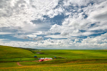 In July 2020, the Hulunbuir Prairie in Inner Mongolia, near Heishantou Town on the Sino-Russian border, is full of green grass, blue sky and white clouds, vast and high.
