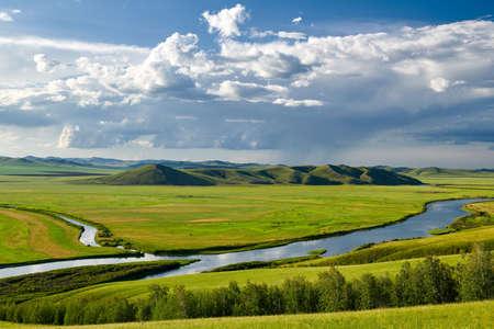 Hulunbuir prairie in summer. The Sino-Russian border line from Shiwei Port to Manzhouli is beautiful.