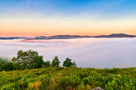 a beautiful morning mist landscape appeared in Concentric Tianchi, Moon Town, Chaihe, Zhalantun City, Hulunbuir, Inner Mongolia.