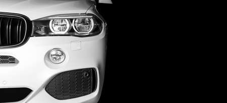 Sankt-Petersburg, Russia, March 05, 2017: Front view of modern luxury sport car white exterior of BMW X5M 2017 on test-drive in Sankt-Petersburg at March 05 2017 Editorial
