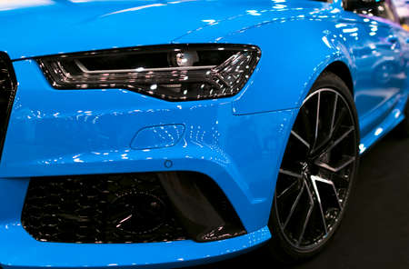 Sankt-Petersburg, Russia, July 21, 2017: Front view of a blue modern luxury blue sport car Audi RS 6 Avant Quattro 2017. Car exterior details. Photo Taken on Royal Auto Show  July 21