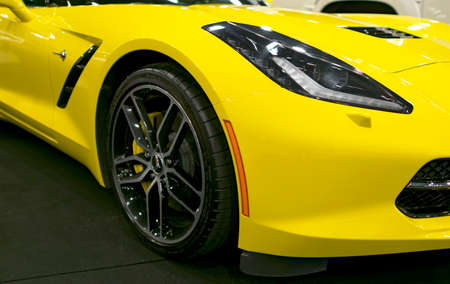 Sankt-Petersburg, Russia, July 21, 2017: Front view of a yellow Chevrolet Corvette Z06. Car exterior details. Photo Taken on Royal Auto Show  July 21 Editorial