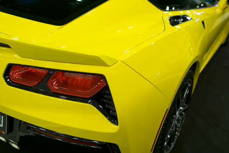 Sankt-Petersburg, Russia, July 21, 2017: Back view of a yellow sport car Chevrolet Corvette Z06. Car exterior details. Photo Taken on Royal Auto Show  July 21 Editorial