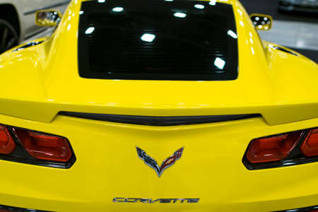 Sankt-Petersburg, Russia, July 21, 2017: Back view of a yellow Chevrolet Corvette Z06. Car exterior details. Photo Taken on Royal Auto Show  July 21