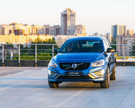 St. Petersburg, Russia - June 17, 2017: A modern luxury swedish car Volvo XC60 R-Design Polestar Edition on the roof of the building on a test drive in St. Petersburg June 17, 2017