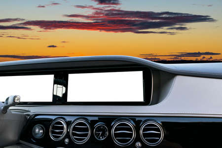 White Screen system display for GPS Navigation and Multimedia technology in car. White copy space of touch screen. Car dashboard empty space for text. Blank empty white screen. Outdoor concept