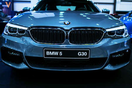 Sankt-Petersburg, Russia July 21 2017: Front view of a BMW (G30) 5-series. Car exterior details. Photo Taken at Royal Auto Show July 21 Editoriali