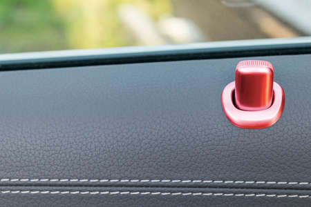 Door handle with red lock contol buttons of a luxury passenger car. Black leather interior of the luxury modern car. Modern car interior details Stock Photo