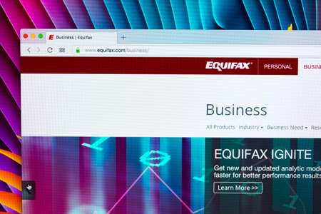 Sankt-Petersburg, Russia, November 20, 2017: Equifax home page on the  monitor screen. Equifax Inc. is a consumer credit reporting agency.