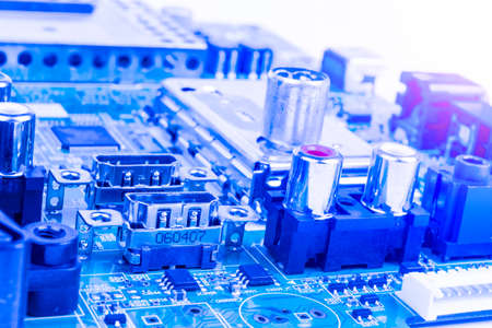 Circuitboard with resistors, microchips and electronic components. Electronic computer hardware technology. Integrated communication processor. Information engineering component. Semiconductor. PCB. 스톡 콘텐츠