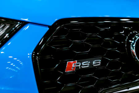 Sankt-Petersburg, Russia, July 21, 2017: Front view of a blue modern luxury blue sport car Audi RS 6 Avant Quattro logo 2017. Car exterior details. Photo Taken on Royal Auto Show  July 21