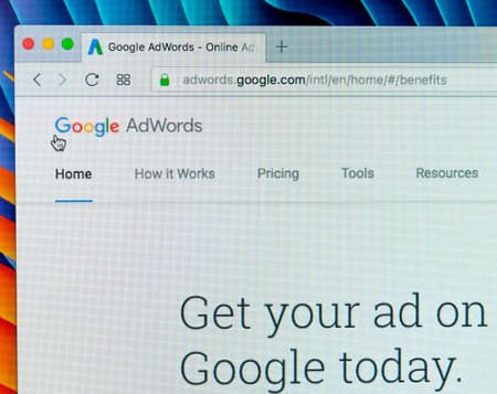 Sankt-Petersburg Russia December 7, 2017: Google Adwords website on Apple iMac monitor screen. Google AdWords is an online advertising service. AdWords Express helps to reach new customers on Google.