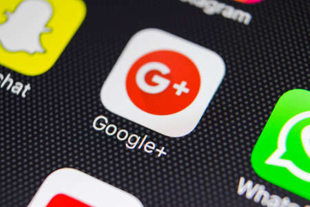 Sankt-Petersburg, Russia, January 24, 2018: Google plus application icon on Apple iPhone 8 smartphone screen close-up. Google plus app icon . Google+ Editöryel