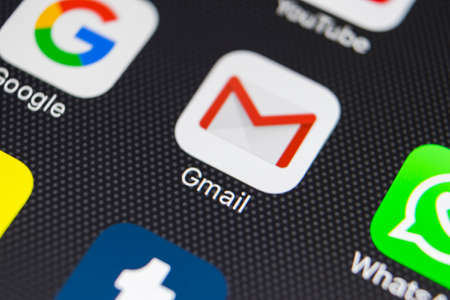 Sankt-Petersburg, Russia, January 24, 2018: Google Gmail application icon on Apple iPhone 8 smartphone screen close-up. Gmail app icon. Gmail is the most popular Internet online e-mail service 写真素材 - 94240426