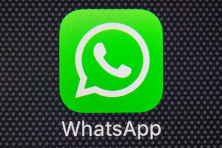 Sankt-Petersburg, Russia, January 25, 2018: WhatsApp messenger application icon on Apple iPhone 8 smartphone screen close-up. WhatsApp messenger app icon .