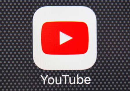 Sankt-Petersburg, Russia, January 25, 2018: YouTube application icon on Apple iPhone 8 smartphone screen close-up. Youtube app icon. YouTube is an online video networking service. Editorial