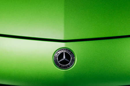 Sankt-Petersburg, Russia, January 12, 2018 :Logo of a Green Mercedes-Benz AMG GTR 2018 V8 Biturbo exterior details, Front view. Car exterior details