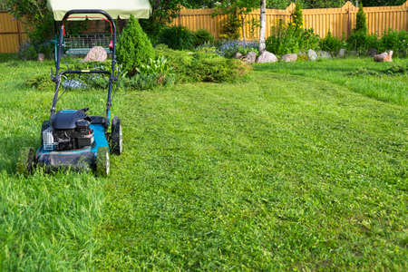 Mowing lawns Lawn mower on green grass mower grass equipment mowing gardener care work tool close up view sunny day 스톡 콘텐츠