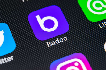 Sankt-Petersburg, Russia, February 9, 2018: Badoo application icon on Apple iPhone X screen close-up. Badoo app icon. Badoo is an online social media network. Social media app Editorial