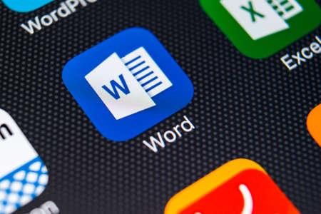 Sankt-Petersburg, Russia, February 11, 2018: Microsoft Word application icon on Apple iPhone X screen close-up. Microsoft Word icon. Microsoft office on mobile phone. Social media