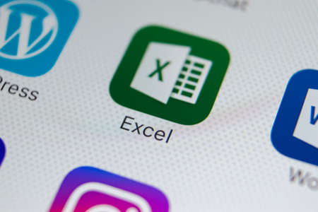 Sankt-Petersburg, Russia, February 9, 2018: Microsoft Exel application icon on Apple iPhone X screen close-up. Microsoft Exel app icon. Microsoft office on mobile phone. Social media
