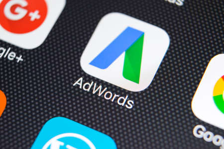 Sankt-Petersburg, Russia, February 9, 2018: Google Adwords application icon on Apple iPhone X screen close-up. Google Ad Words icon. Google adwords application. Social media network 報道画像