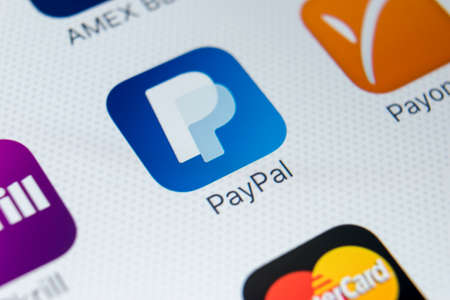 Sankt-Petersburg, Russia, February 9, 2018: PayPal application icon on Apple iPhone X smartphone screen close-up. PayPal app icon. PayPal is an online electronic payment system .