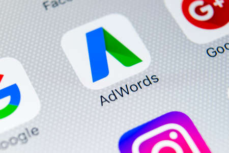 Sankt-Petersburg, Russia, February 9, 2018: Google Adwords application icon on Apple iPhone X screen close-up. Google Ad Words icon. Google adwords application. Social media network Stock Photo - 96422161